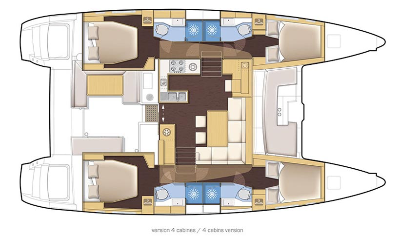 Image of LAGOON 450 CATAMARAN sailing yacht layout and plan drawings
