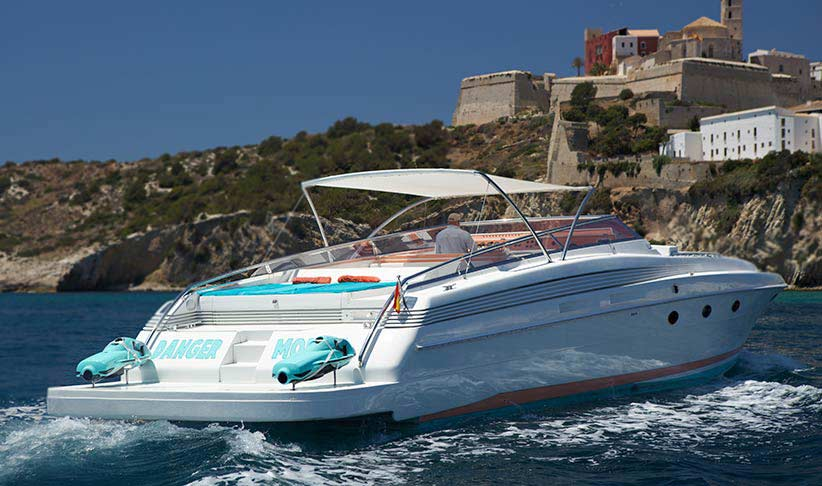Aft of Dangermouse Cherokee 68 Motorboat and Dalt Vila, Ibiza