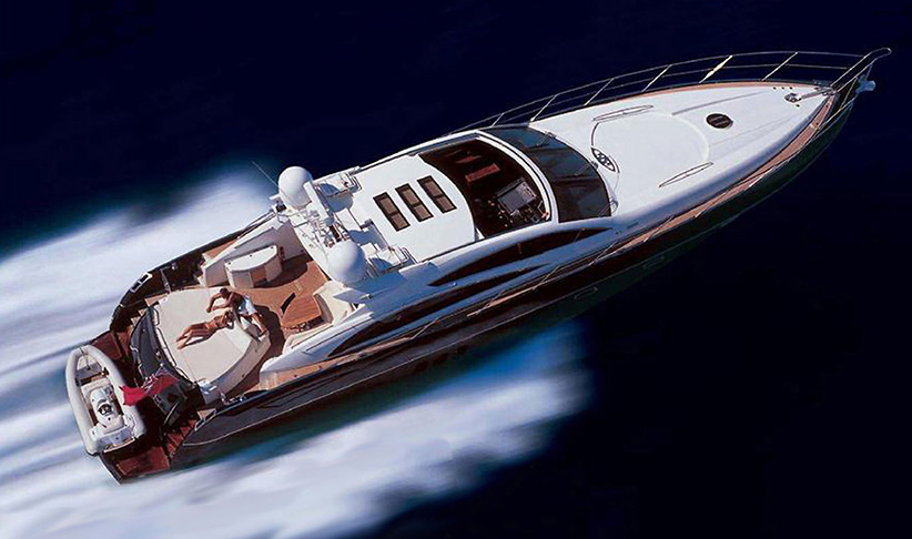 Lux Charters Ibiza Motor Yacht Charter Ibiza Sunseeker Predator 72 with tender on the back