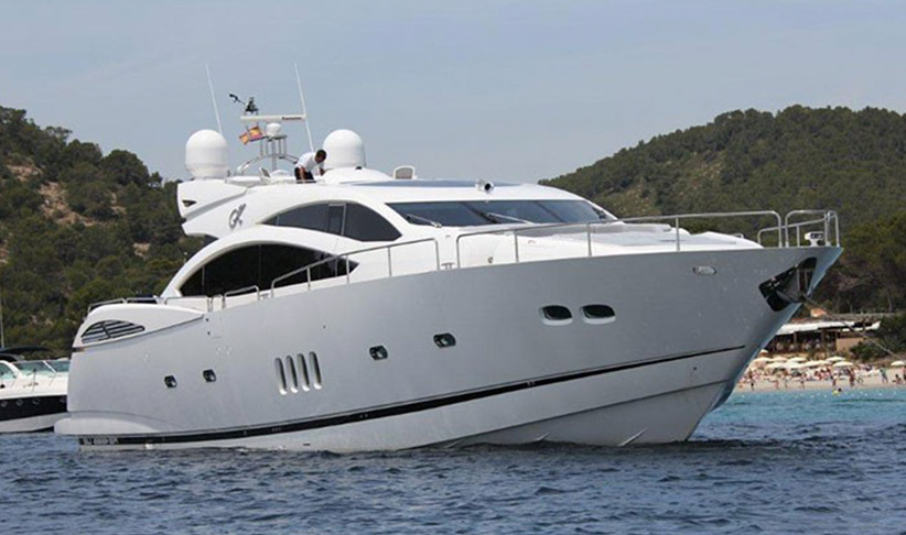 Big flybridge of Absolute Fly 52 motoryacht on charter in Ibiza, by Lux Charters Ibiza