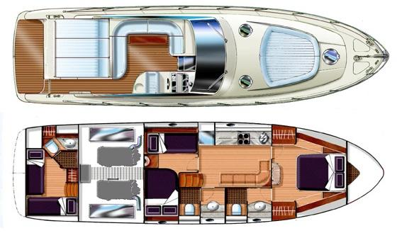 Image of GIANETTI 55 SPORT OPEN MOTORBOAT layout and drawings