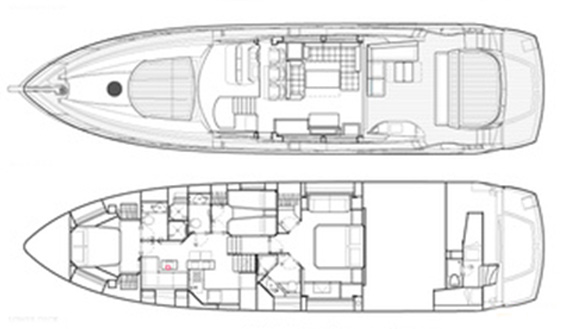 Image of SUNSEEKER PREDATOR 74 superyacht layout
