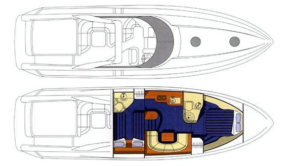 Image of SUNSEEKER CAMARGUE 47 MOTORBOAT plans and layout