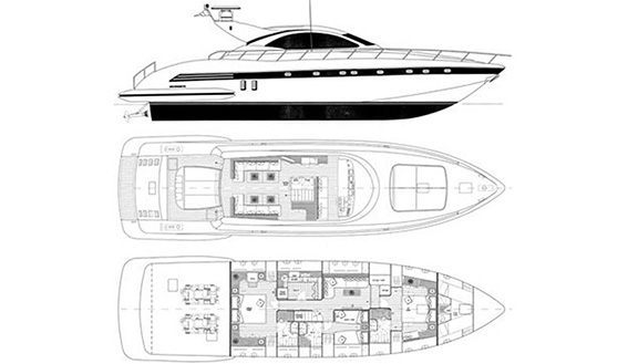 Image of MANGUSTA 72 SUPERYACHT layout