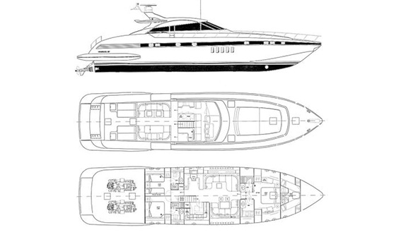 Image of MANGUSTA 80 SUPERYACHT layout