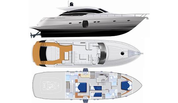 Image of PERSHING 64 motoryacht layout