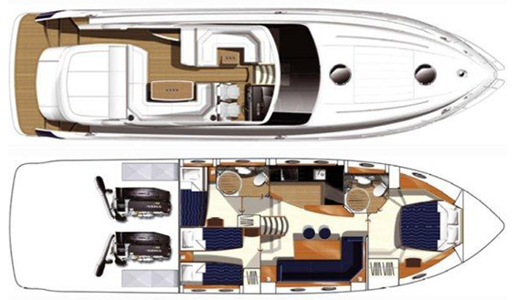 Image of PRINCESS V53m MOTORBOAT layout