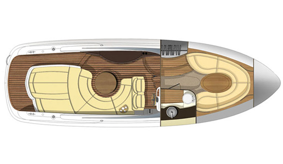 Image of SESSA S32 motorboat layout and plans