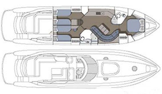Image of SUNSEEKER PREDATOR 61 MOTORYACHT layout