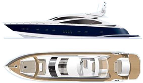 Image of SUNSEEKER PREDATOR 92 layout plan