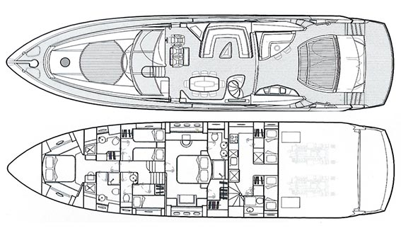 Image of SUNSEEKER PREDATOR 82 SUPERYACHT layout