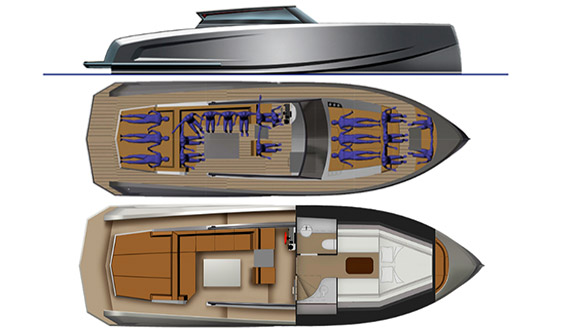 Image of VANQUISH 43 motorboat plans and layout