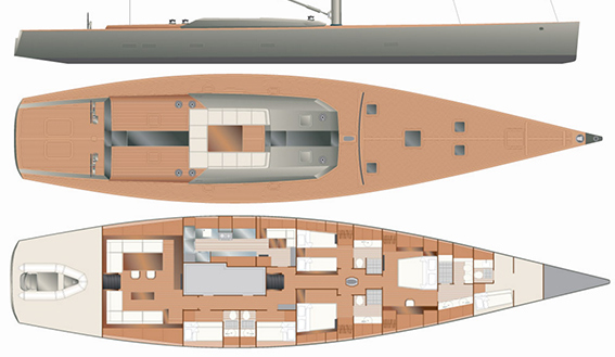 Image of WALLY 88 TIKETITOO SUPERYACHT sailing boat layout