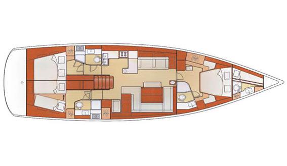 Image of BENETEAU OCEANIS 58 sailing yacht layout