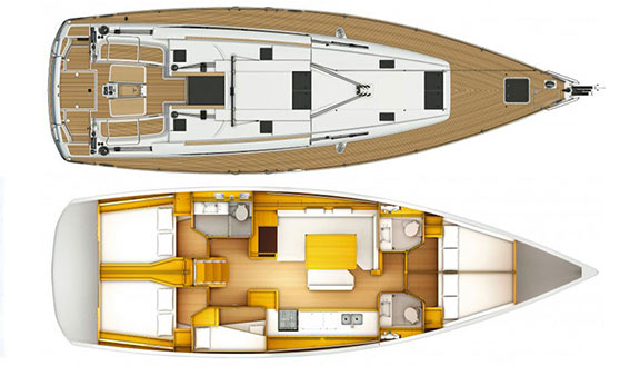 Image of Jeanneau 509 sailing yacht layout
