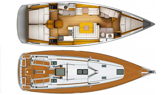 Image of Jeanneau 439 sailing yacht layout