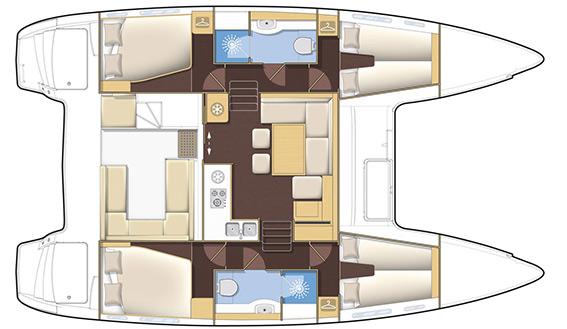 Image of LAGOON 400 S2 CATAMARAN sailing yacht layout