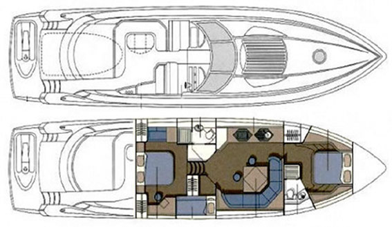 Image of SUNSEEKER PREDATOR 68 MOTOR YACHT layout