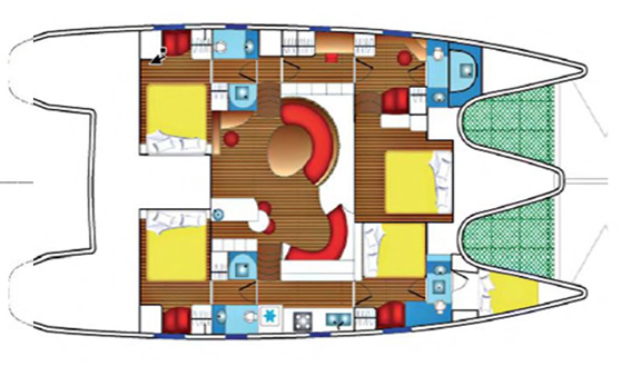 Image of layout of Privilege 615 charter catamaran in Ibiza