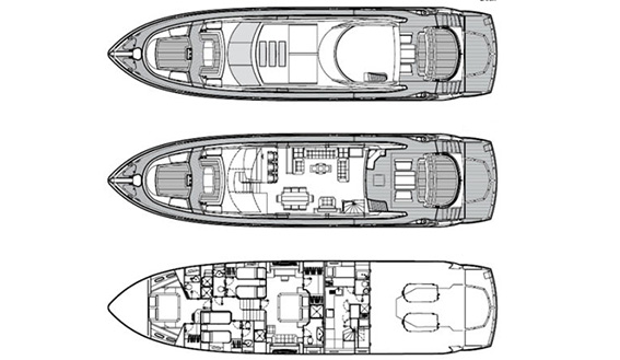 Image of SUNSEEKER PREDATOR 84 plan drawings and layout