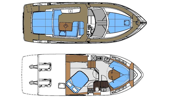 Image of ABSOLUTE 40 SPORT MOTORBOAT layout