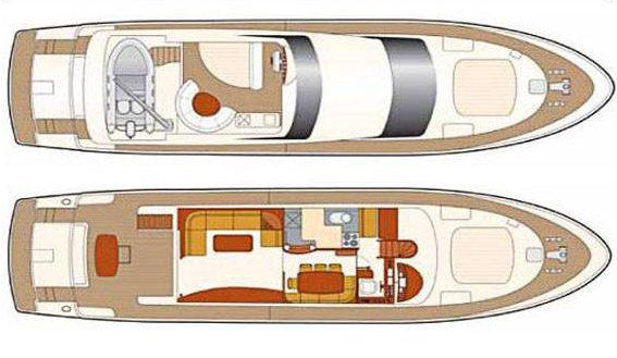 Image of layout of Astondoa 72 charter superyacht in Ibiza