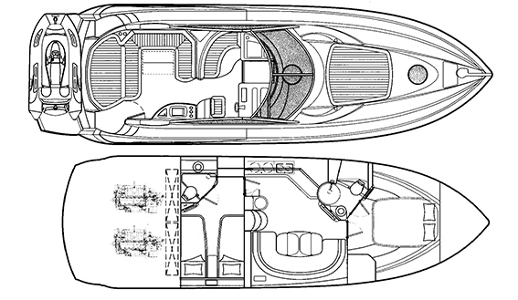 Image of SUNSEEKER PORTOFINO 46 MOTORBOAT layout