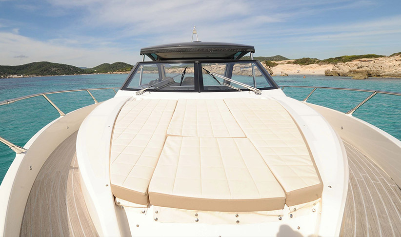 Front Sundeck of the Absolute 40 Sport Motorboat by Lux Charters Ibiza