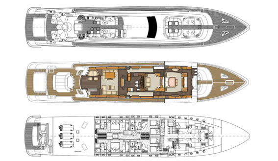 LEOPARD 46 M super yacht layout plan