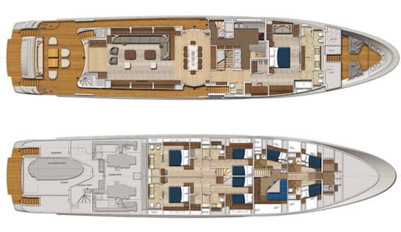 San Lorenzo 126 super yacht layout plan