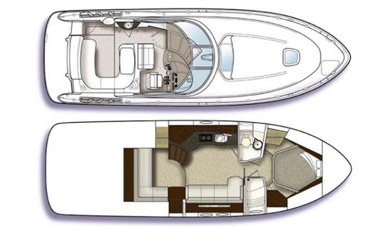 Image of Sea Ray Sun Sport 40 technical drawings and plan