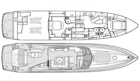 Sunseeker Predator 72m layout plan and drawings