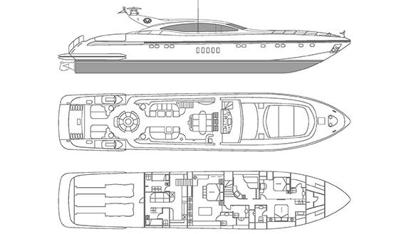 Image of MANGUSTA 80 SUPERYACHT layout