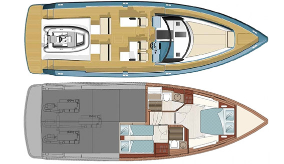 Image of layout of Fjord 48 charter motorboat in Ibiza