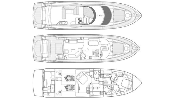 Image of Sunseeker Manhattan 70 motoryacht layout